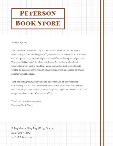 White Book Store Letter