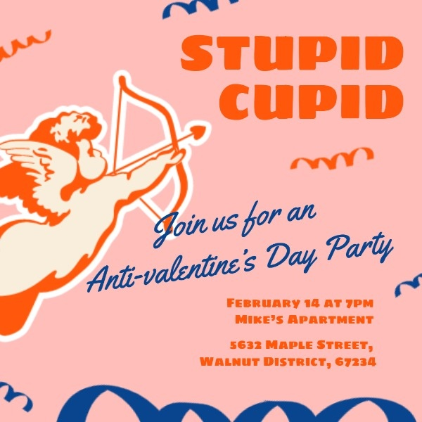 Orange Stupid Cupid Anti-valentine's Day