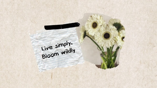 Simple Marble Background Flower Quote