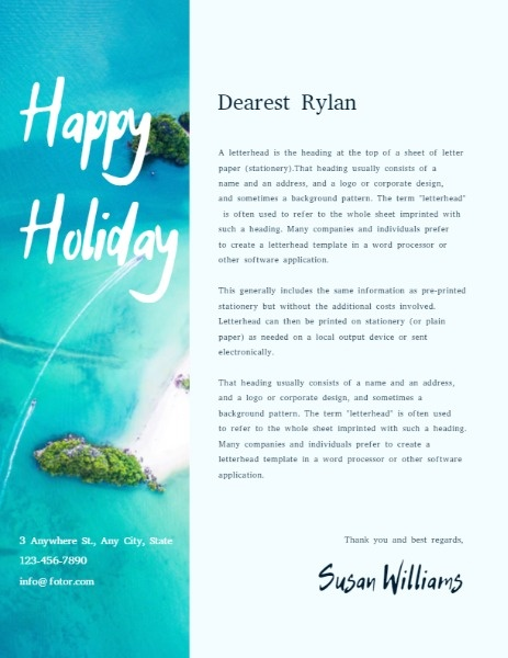 Ocean Background Holiday Letter