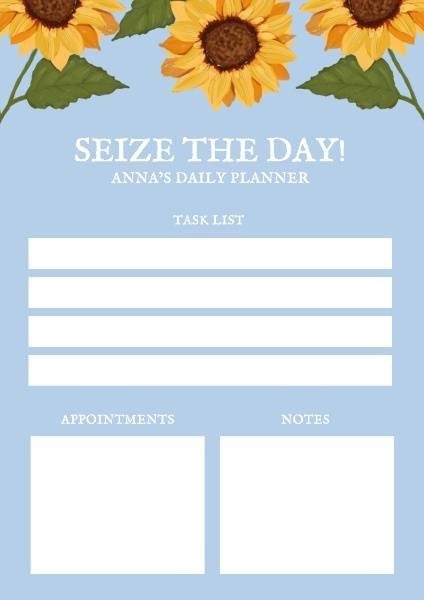 Blue Background Sunflower Planner