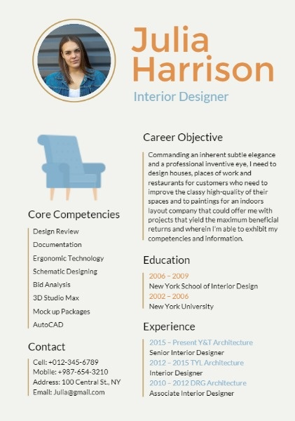 Interior Design Resume Builder Design Outstanding Personalized Resumes For Free Fotor