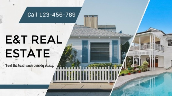 Blue And White Real Estate Banner
