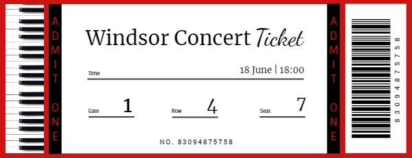 White And Black Piano Concert Ticket