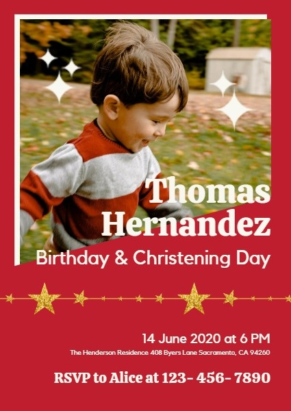 Red Birthday And Christening Party