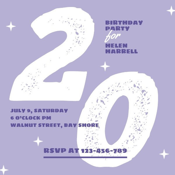 Purple 20 Year Old Birthday Party