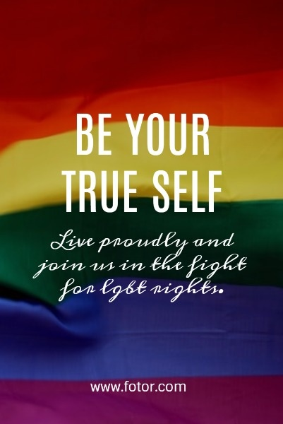 Be Your True Self Rainbow Flag Quote