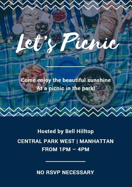 Blue Outing Picnic Invite