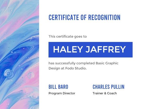 Blue Design Certificate