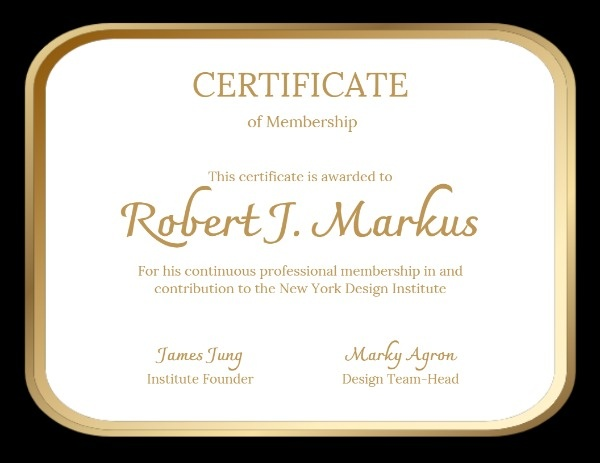 Design Certificate Of Membership