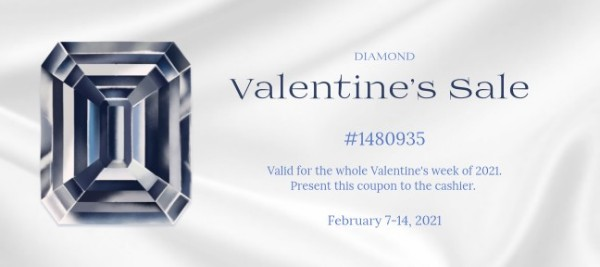 White Valentine's Day Diamond Sale Gift Certificate