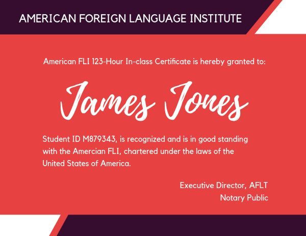 Foreign Language Study Certificate