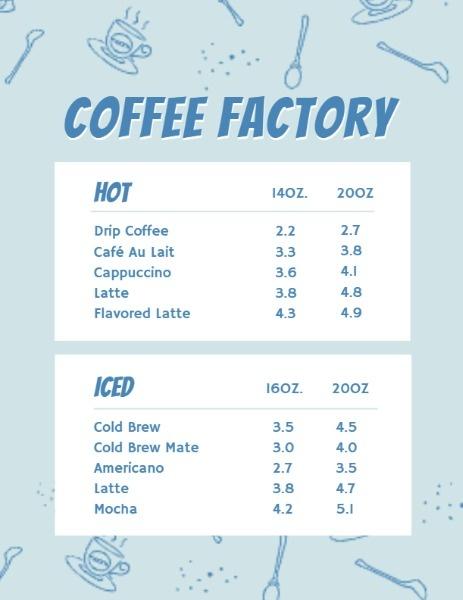 Coffee Factory Icons Menu