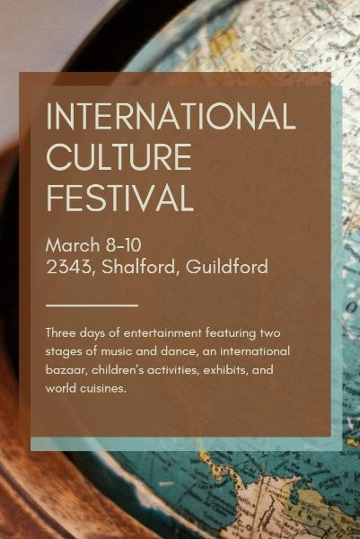 Brown Background Of International Culture Festival