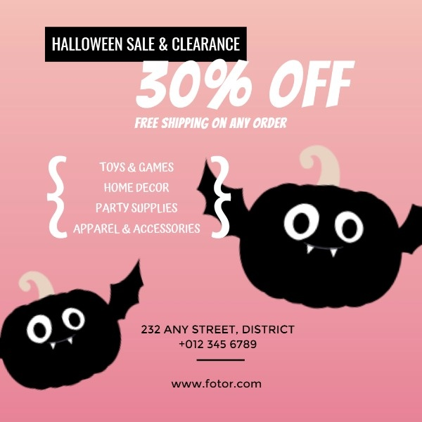 Pink Halloween Shop Promotion