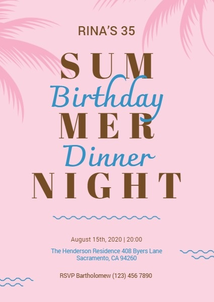 Summer Birthday Party Invitation Card