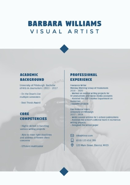 Visual Artist Grey Simple Resume