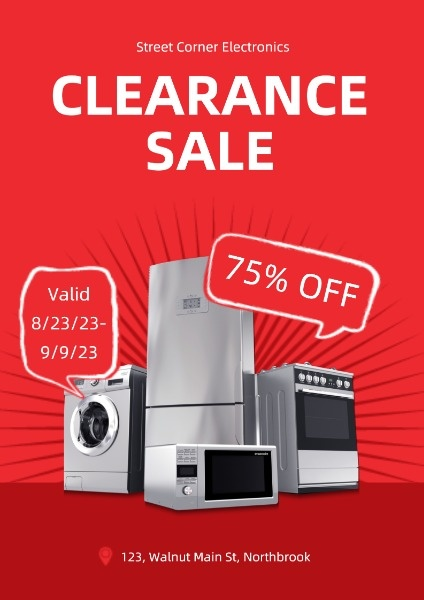 Red Appliance Clearance Sale