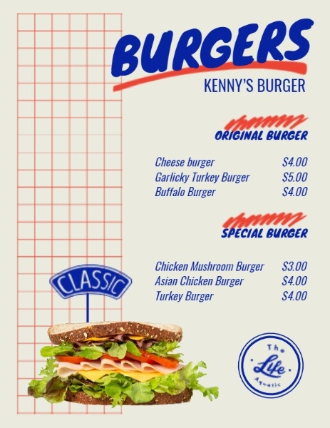 Burger Shop Menu