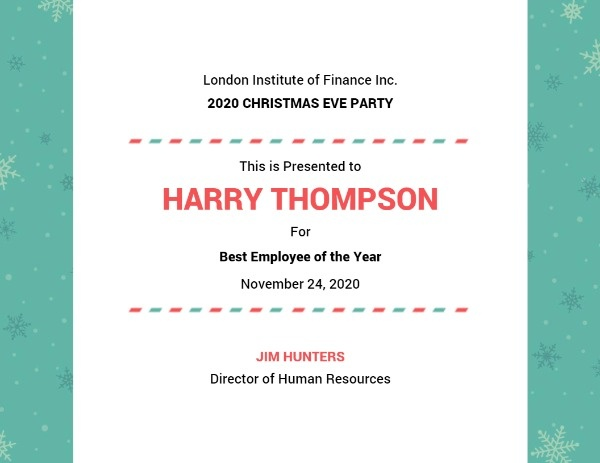 Christmas Party Certificate