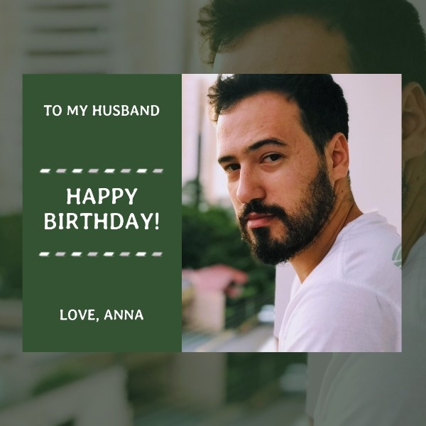 Green Birthday Wishes Card For Husband