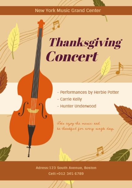 thanksgiving concert flyer maker create customized flyer designs