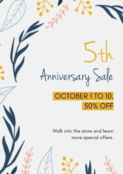 White Botanical Flowers Anniversary Sale Discount