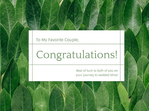 Green Plant Congratulations Card
