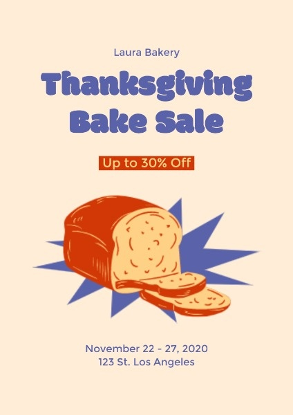 Bake Sale Thanksgiving Poster