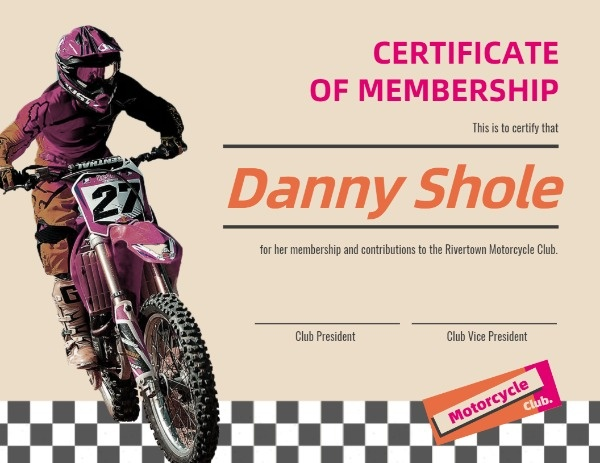 Motorcycle Club Certificate Of Membership