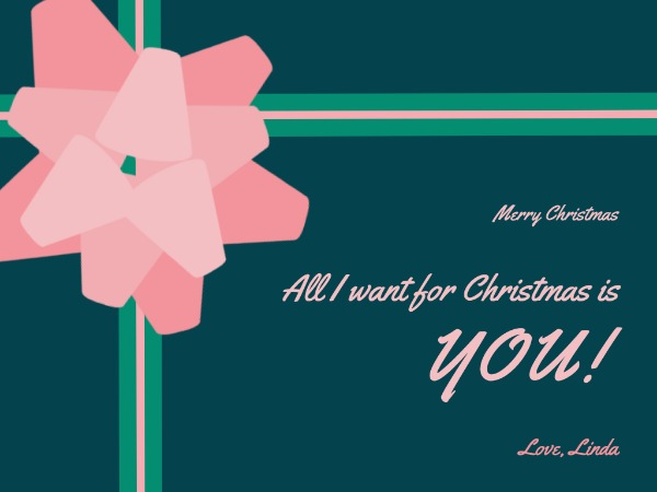 Pink ribbon christmas greeting