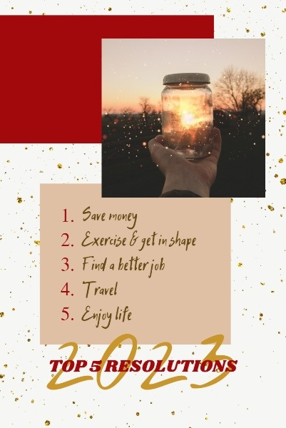 Red And Golden New Year Resolution