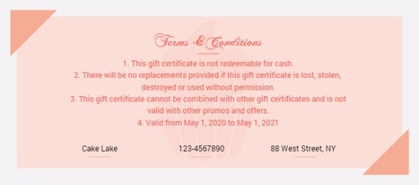 Online Cupcake Gift Certificate Template