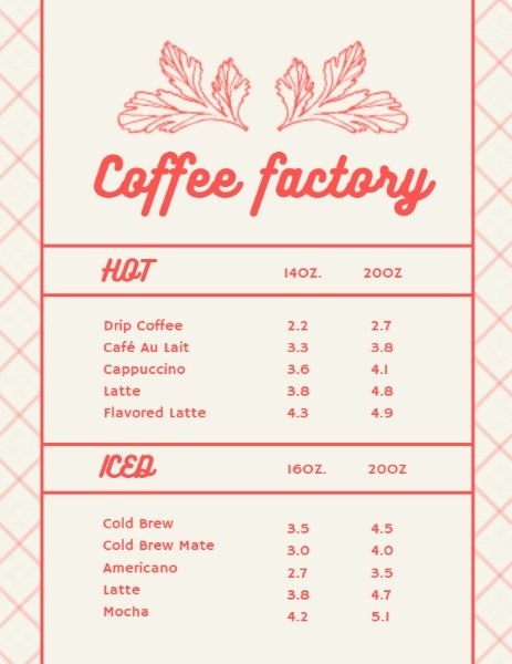 Coffee Factory Leaves Menu