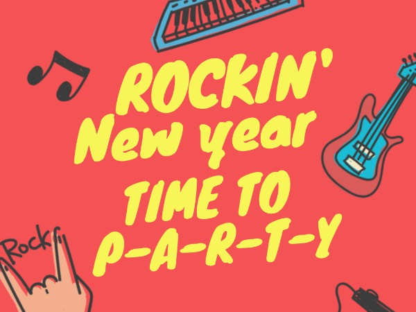 Rock new year party invitation