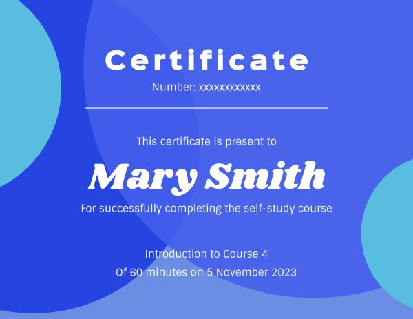 Blue Round Self-Study Course Certificate
