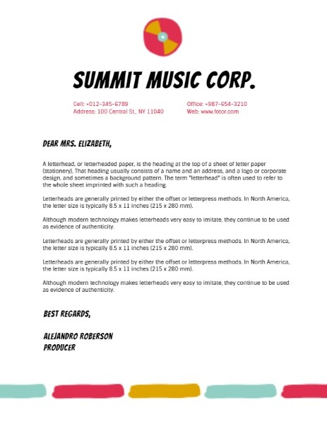 Online Summit Music Corp  Letterhead Template | Fotor Design Maker
