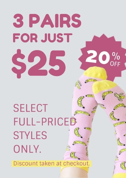 Pink And Grey Socks Sale