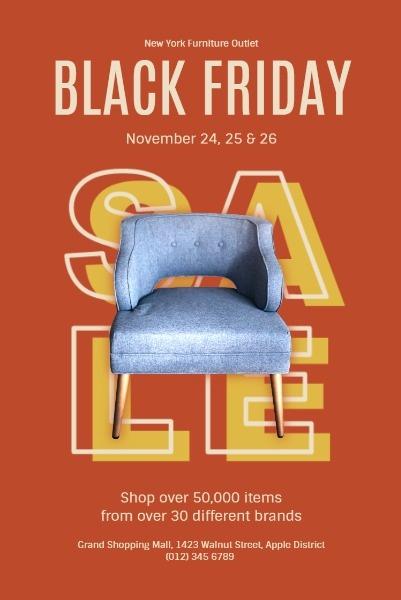 Orange Background Of Black Friday Furniture Super Sale