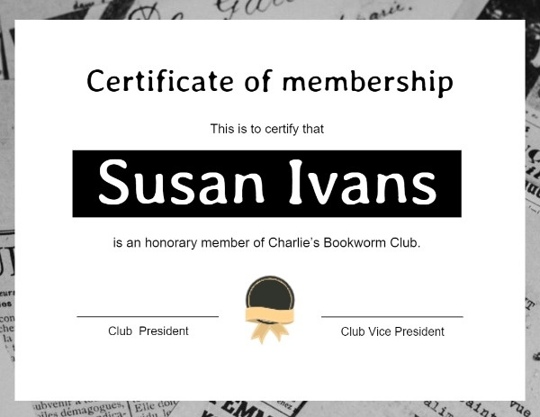 Bookworm Club Certificate Of Membership