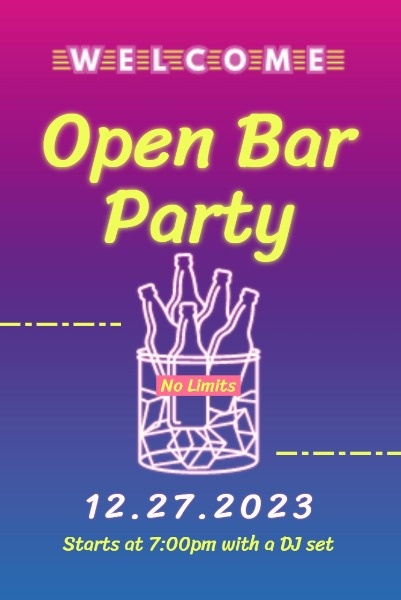 Open Bar Party Neon Sign