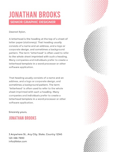 White Background Gradient Graphic Designer Letterhead