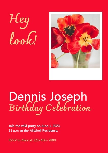 Red Birthday Invitation