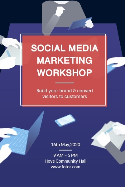 Online Social Media Marketing Workshop Pinterest Post Template Fotor Design Maker