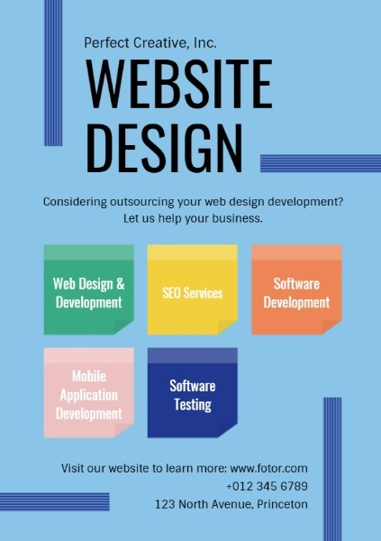Blue Website Design Marketing Ads