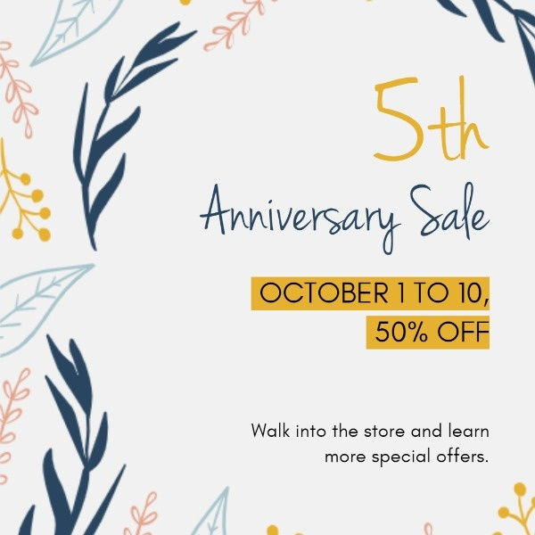5th Anniversiry Sales