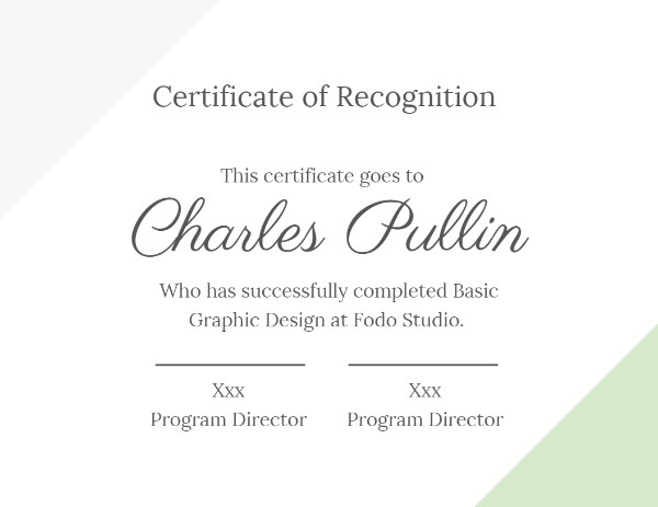Simple Beige Graphic Design Certificate