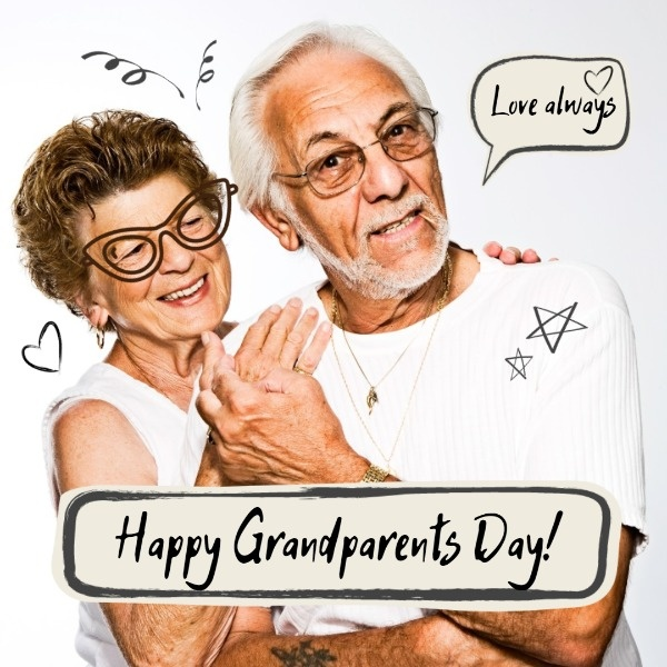 White Grand Parents Day Wishes