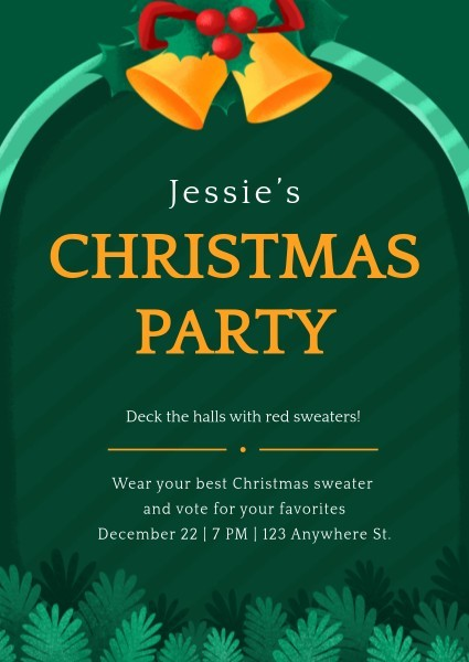 Green Christmas Invitation