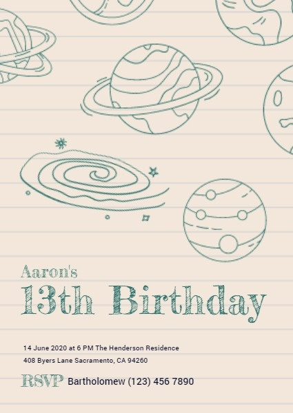 Teenager 13th Birthday Invitation Card